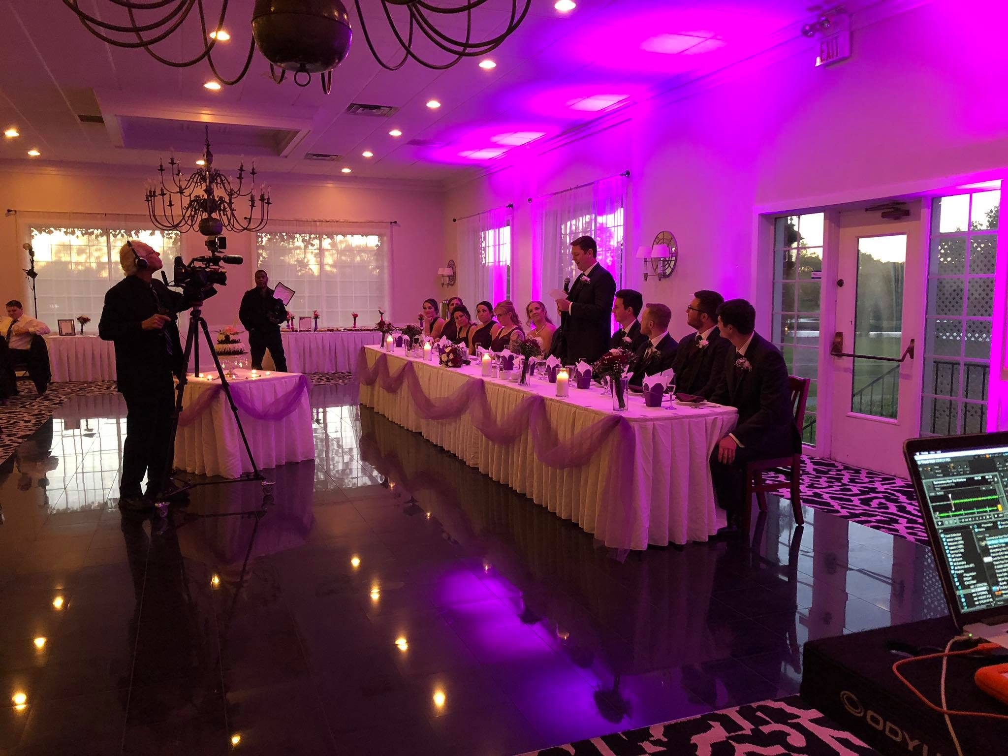 Wedding DJ uplighting head table